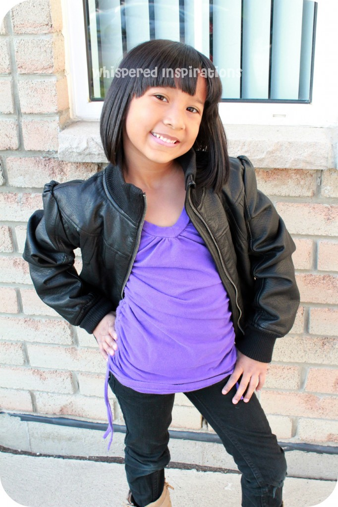 Gabby Styling in her leather jacket.