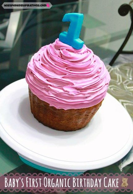 Baby's First Organic Birthday Cake Recipe and it is shaped as giant cupcake.