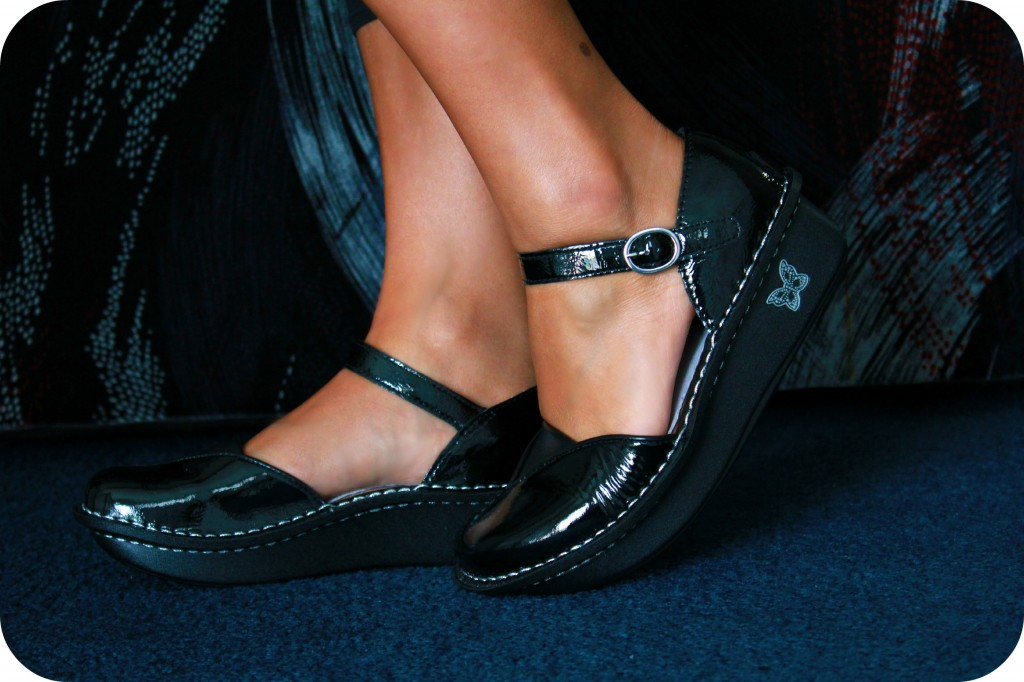 A pair of Alegria shoes are shown.