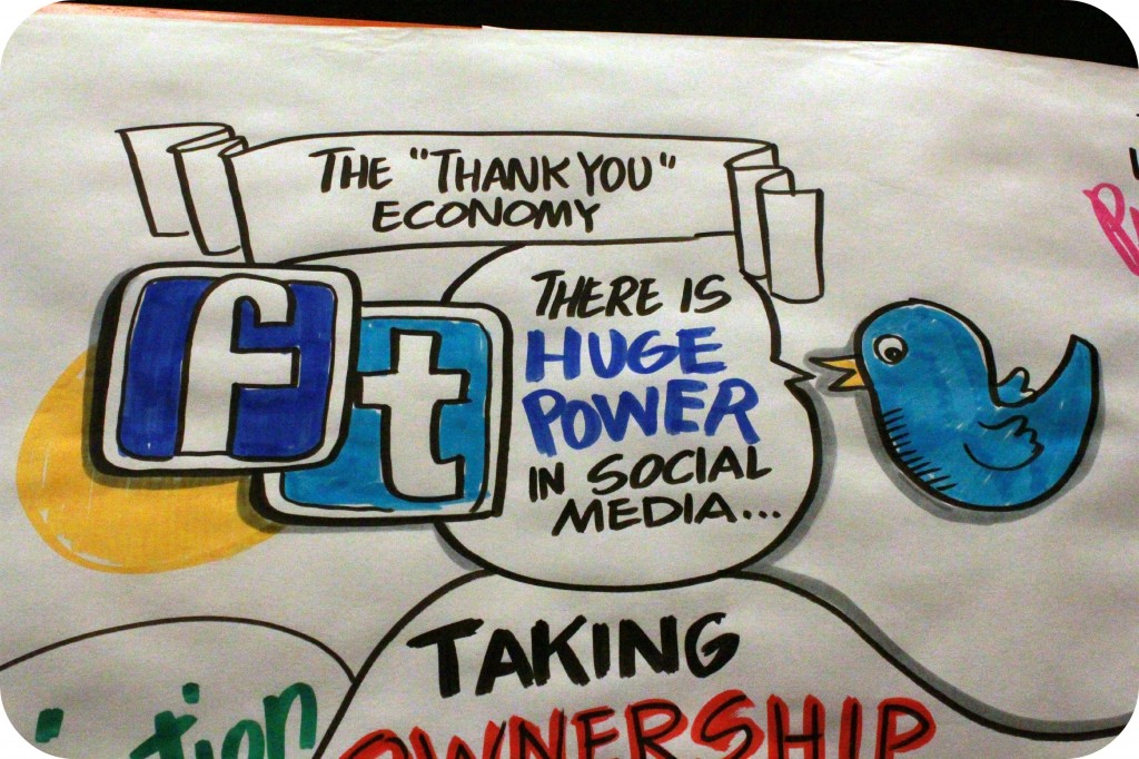 "A poster with Facebook and Twitter logo that says, ""there is huge power in social media."""