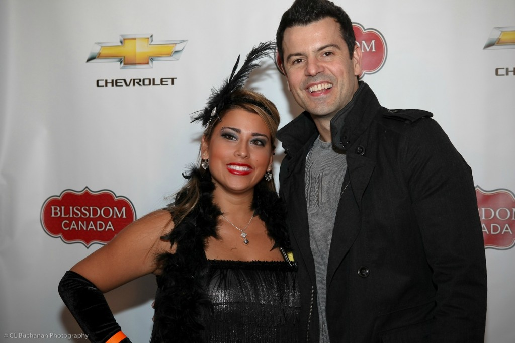 Nancy Polanco stands with Jordan Knight at Blissdom Canada.