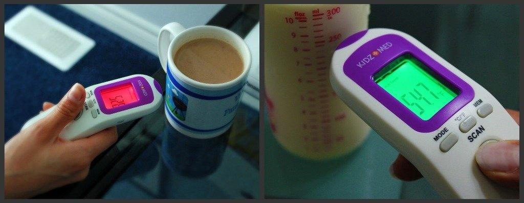 Hands measuring the temperature of hot drinks.