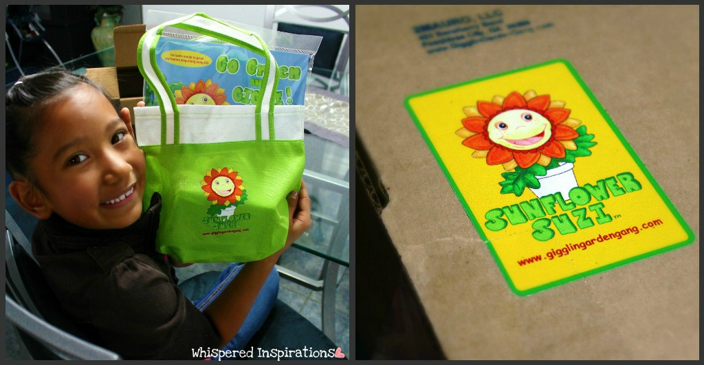 A collage of a little girl excited to play with Sunflower Suzi from the Gigglin' Garden Gang.
