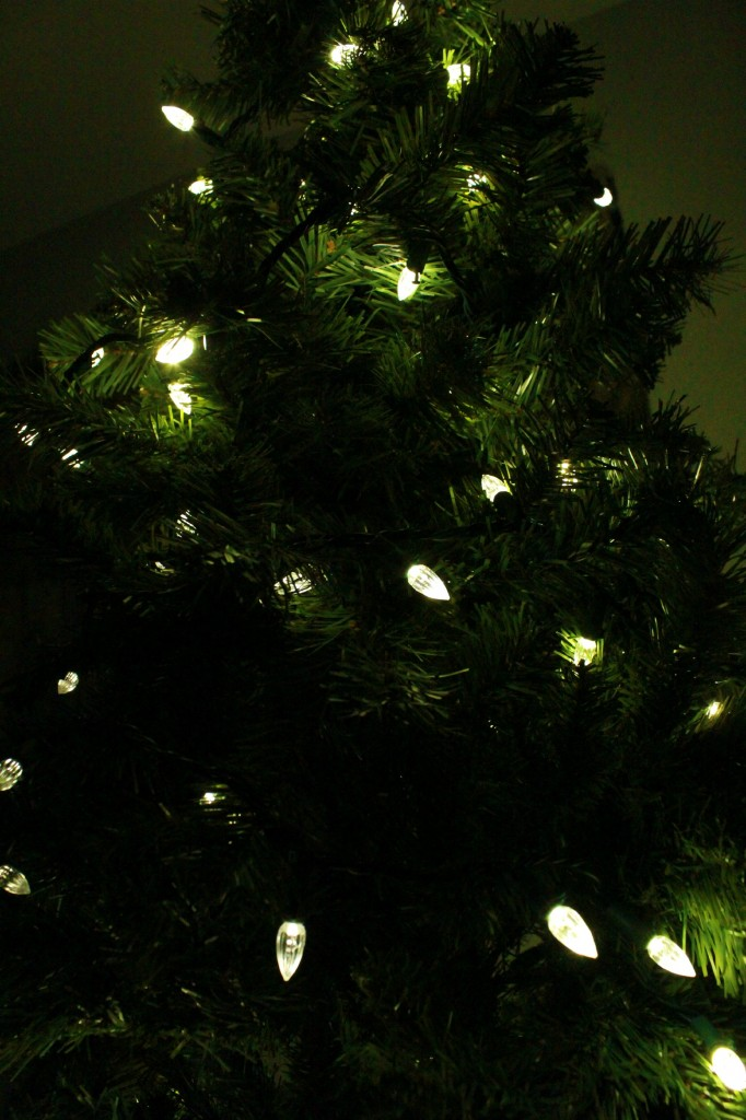 LED lights all over Christmas tree.