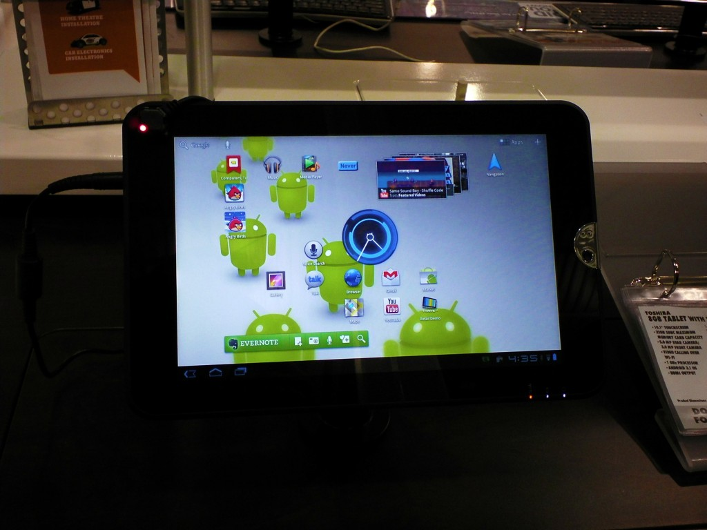 Another shot of the Toshiba tablet.