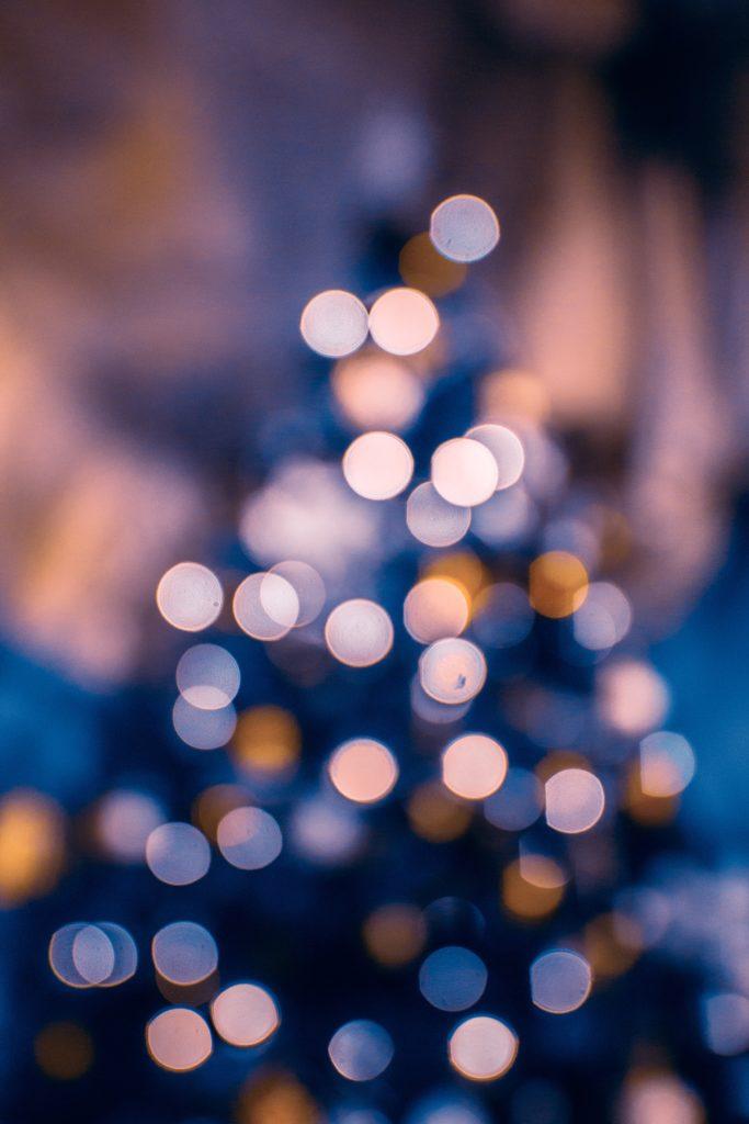 Bokeh lights of a Christmas tree.