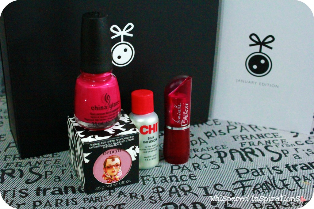 China Glaze, Chi Silk Infusion, Benefit, and lipstick are shown.