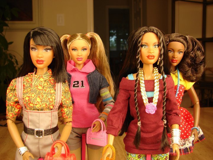 A group of mulit-cultural dolls.