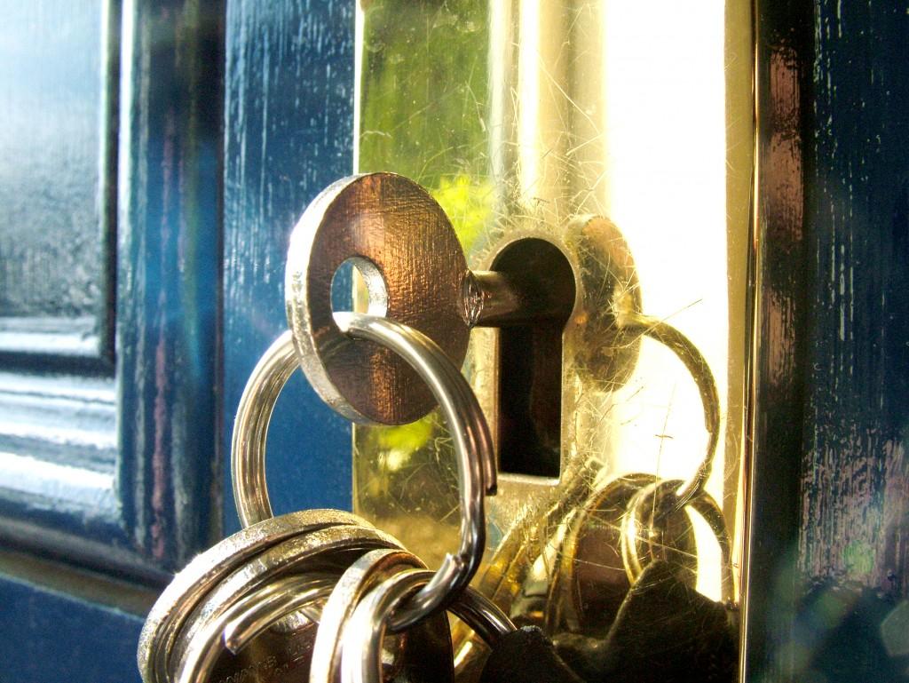 A key in a keyhole.