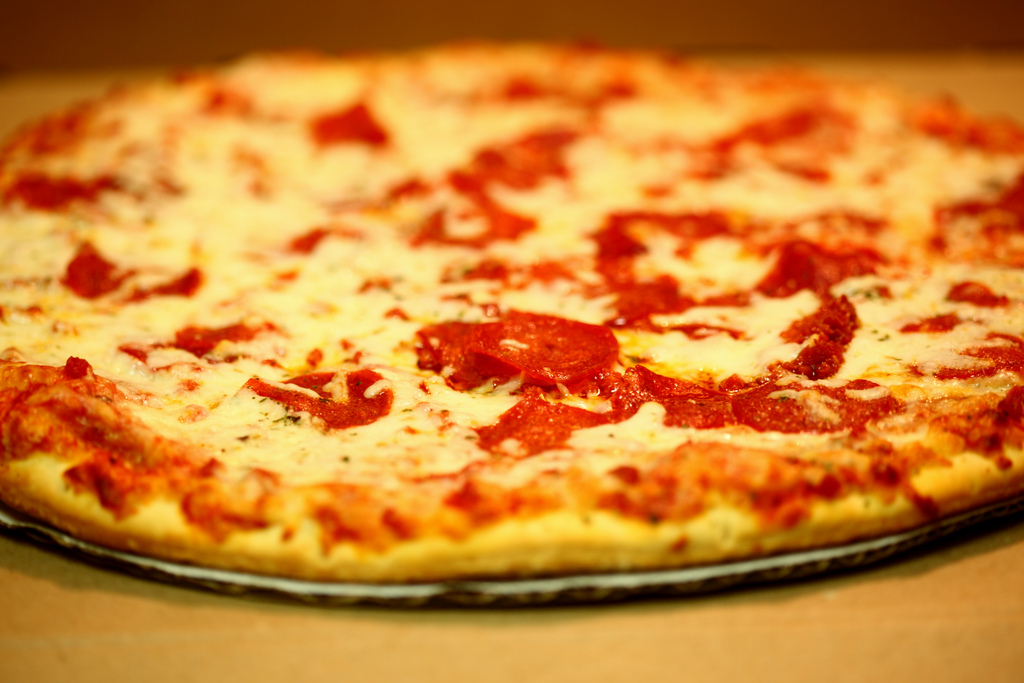A delicious cheese and pepperoni pizza.