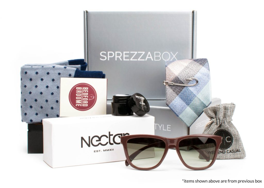 SprezzaBox showing socks, sunglasses, ties, and more.