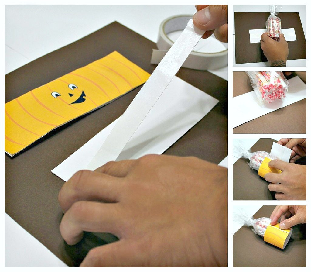 A step by step guide on how to attach the double sided tape to the jack o' lantern craft.