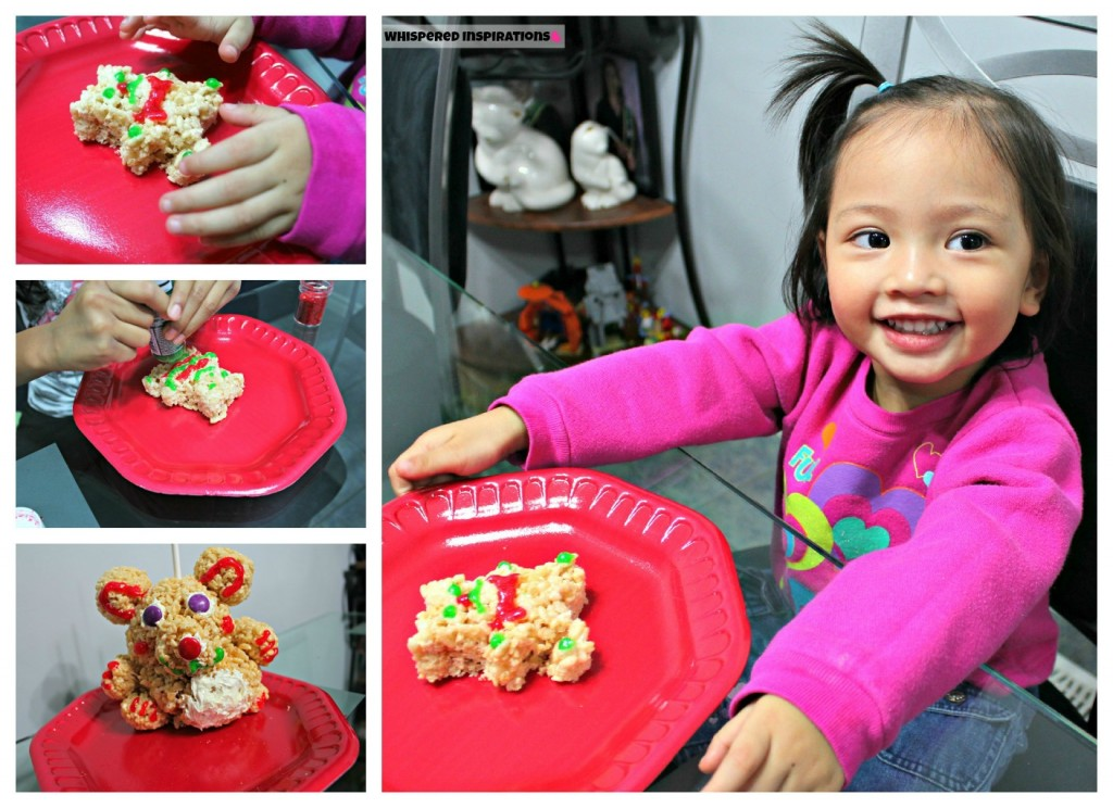 A collage shows a little girl decorating her Rice Krispie Treats!