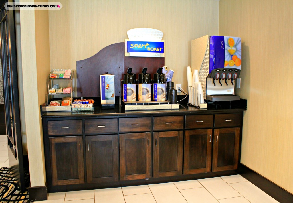 The Holiday Inn Breakfast area with coffee, teas, and juices ready to be served.