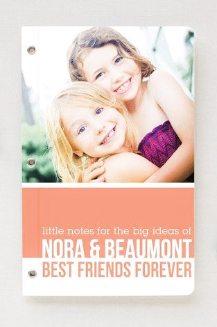 minted stationary with a picture of two little girls.