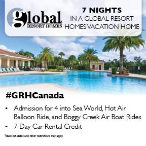 Global Resort Homes Giveaway: Win 7 Nights at A Global Resort Homes Vacation Home, Admission for 4 to SeaWorld, Hot Air Balloon Ride, Boggy Creek Air Boat Rides and a 7 Day Car Rental Credit! #GRHCanada