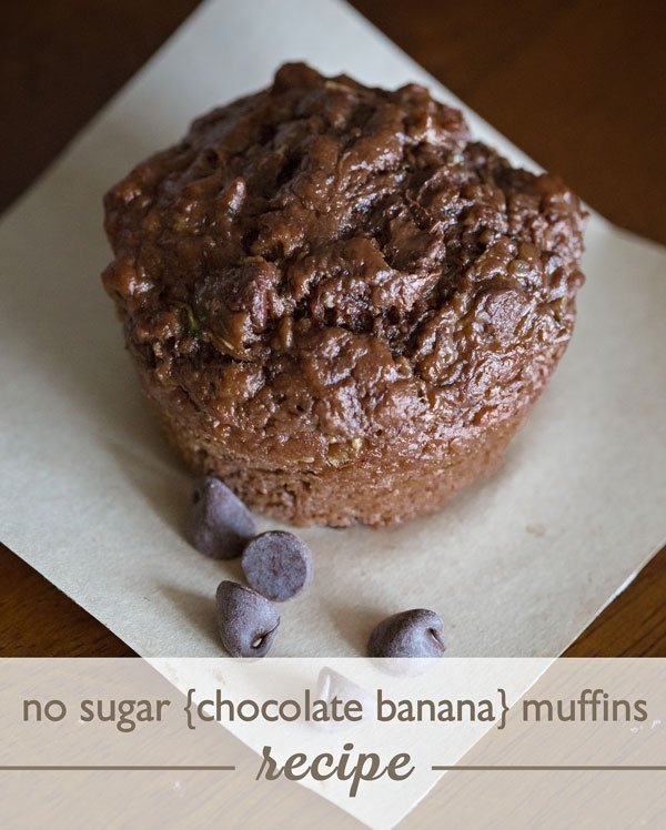 No Sugar Chocolate Banana Muffins Recipe.