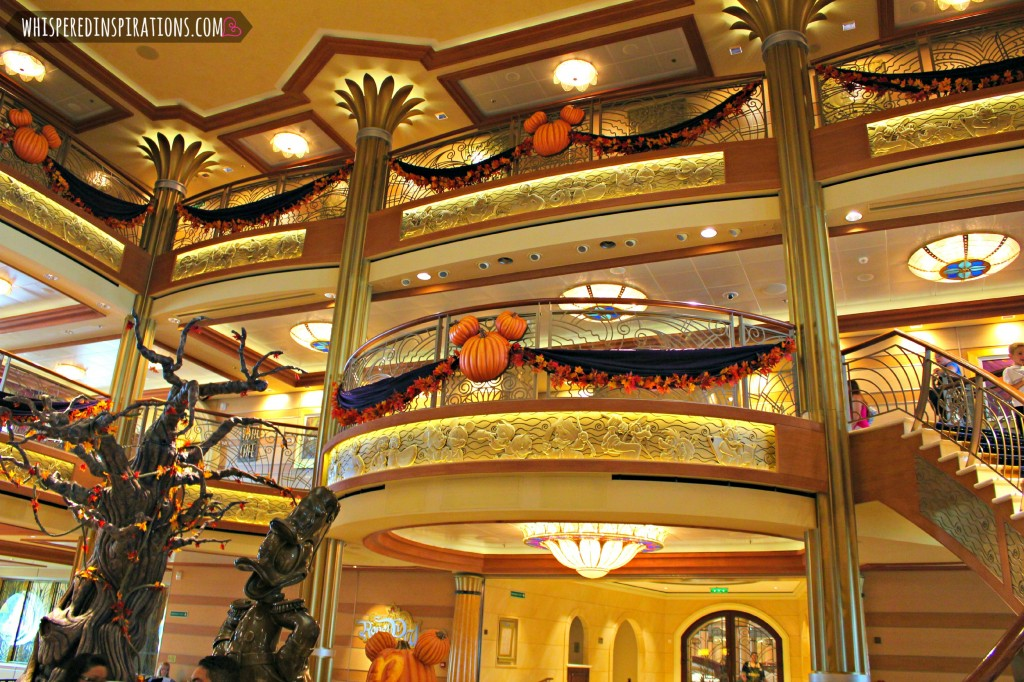 A look of the lobby inside the Disney Cruise, decked out in Halloween decorations.