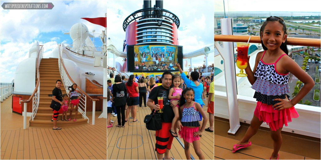A collage of the girls and their dad enjoying the Sail Away party.