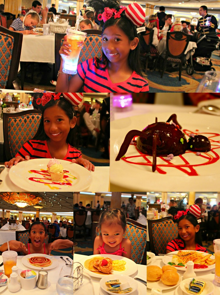 A collage of the girls enjoying dinner aboard the Disney Dream cruise.