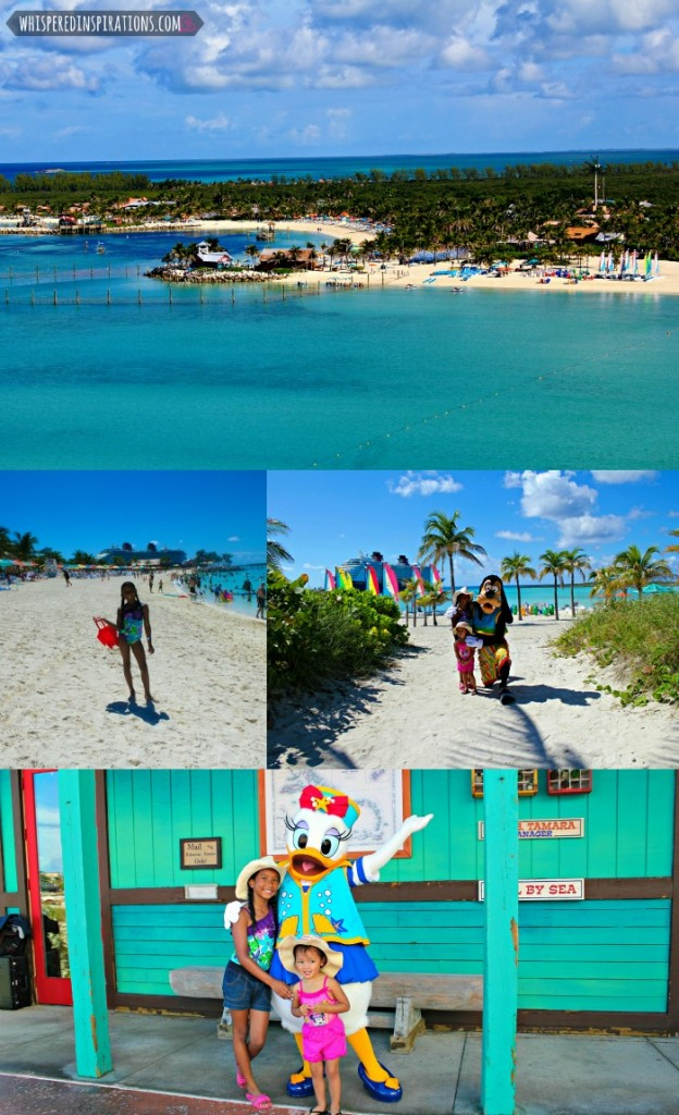 A collage of Castaway Cay and the girls posing with Daisy and Goofy.