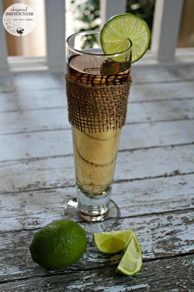 A ginger ale with lime SodaStream soda is shown with fresh lime.