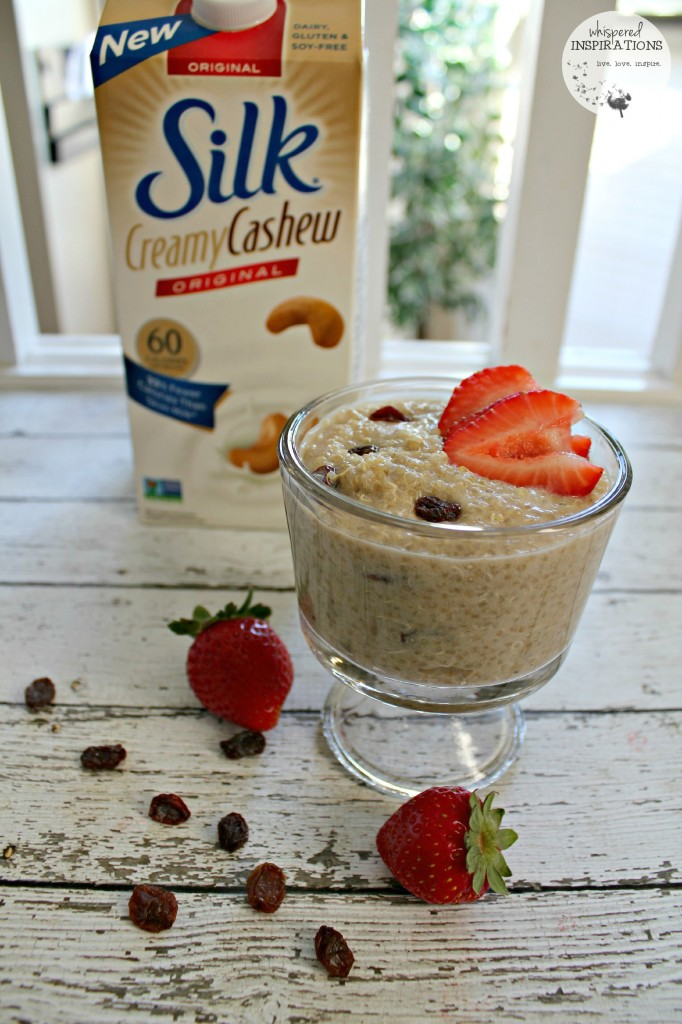 A cup of delicioius vanilla quinoa pudding made with New Silk Creamy Cashew milk.