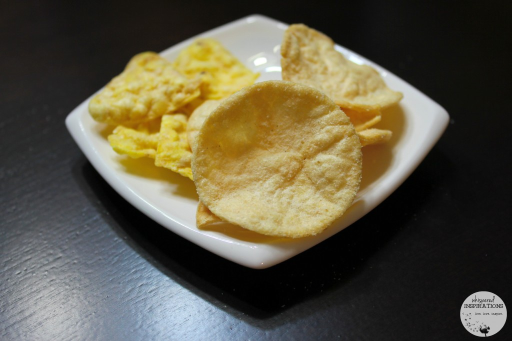 Special K baked chips in different flavours on a plate.