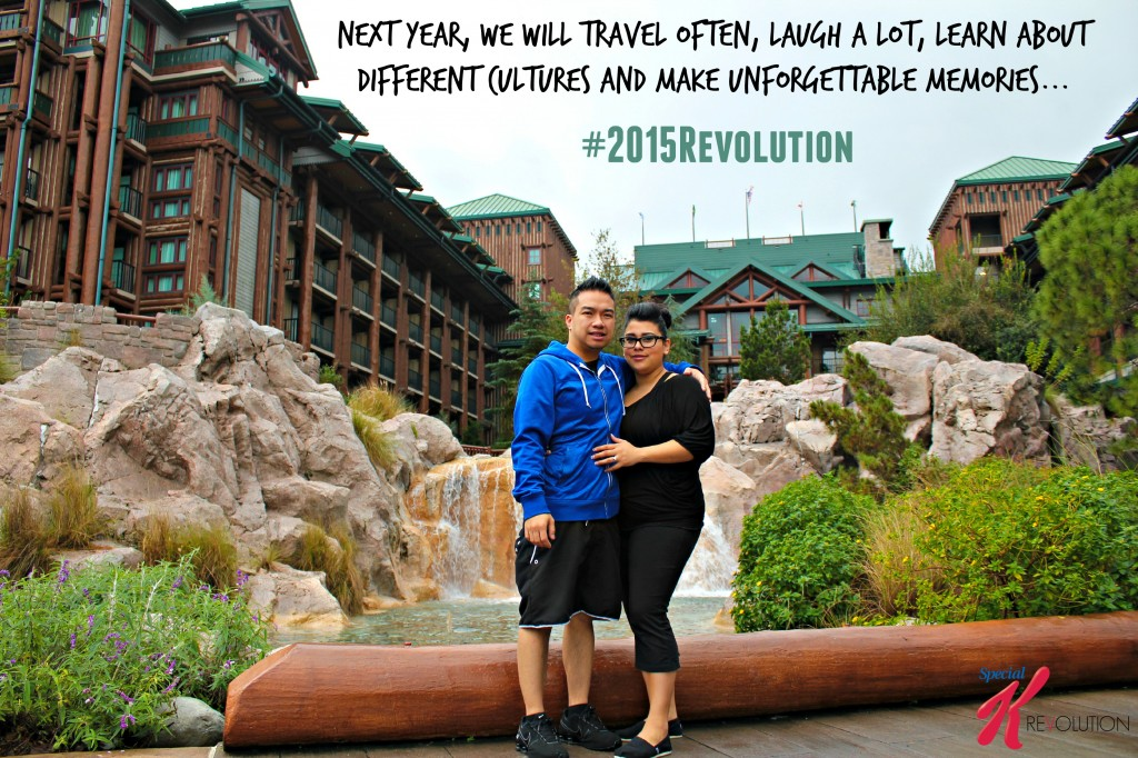 A couple stands in front of a fountain at a resort with their 2015 resolution.