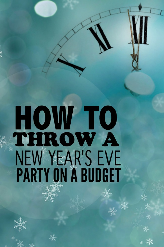 "A banner that reads, ""How to Throw a New Year's Eve Party on a Budget"" with a time pieces and snowflakes."
