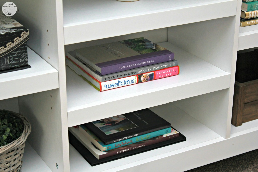 Book shelf with books to show how to decorate your own.