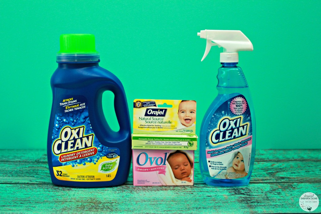 A bottle of OxiClean, Ovol Drops, Orajel, and OxiClean are shown.