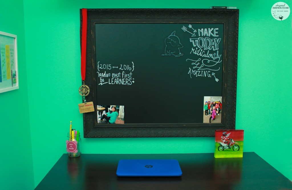 Acrylic block is placed on a child's desk for decor.