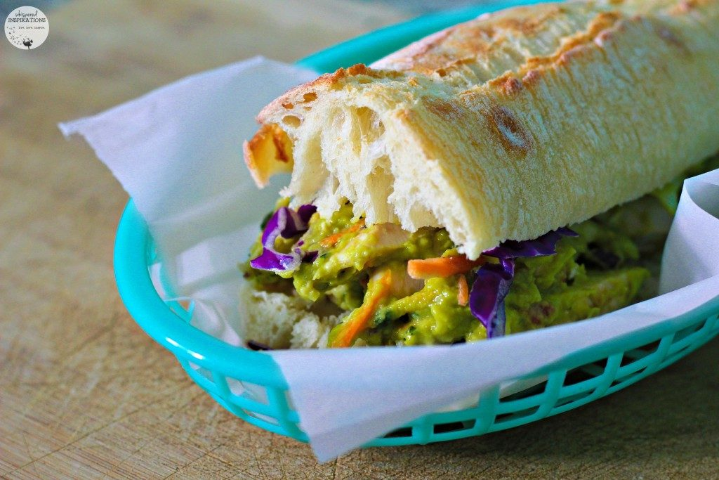 Delicious guacamole chicken salad sandwich.