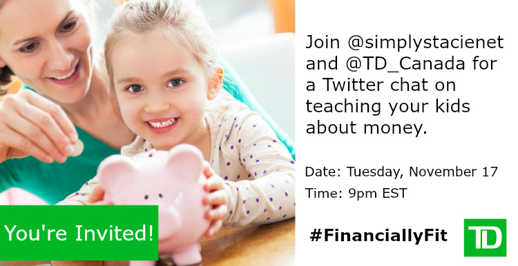 Join Us For Tips On How to Teach Your Kids About Money at the #FinanciallyFit Twitter Chat on November 17th!