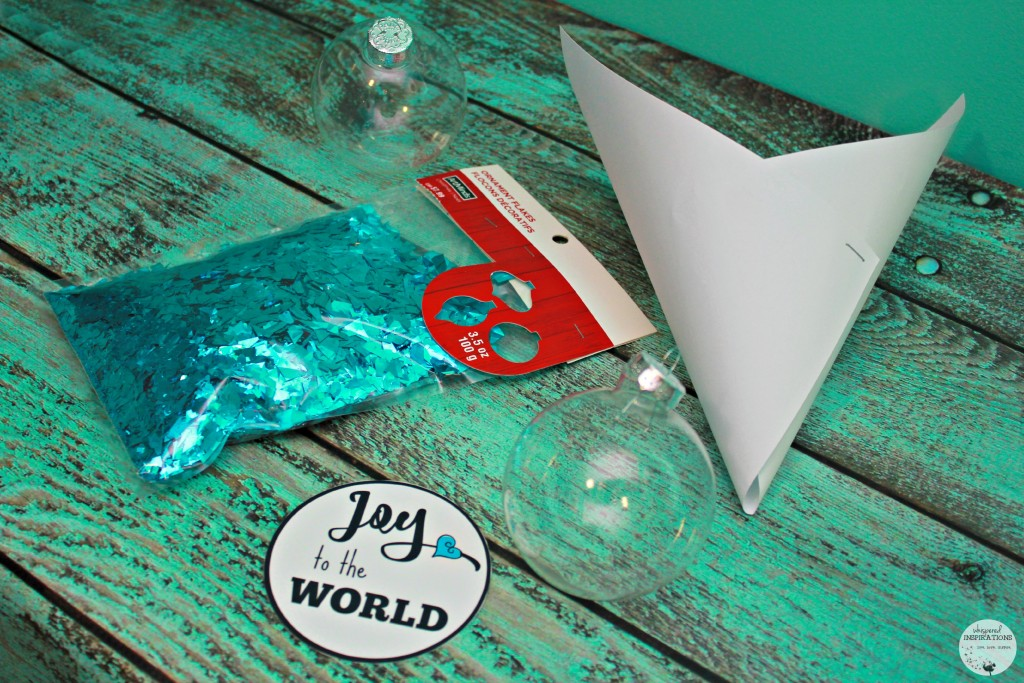 Supplies needed for DIY Joy to the World Ornament.