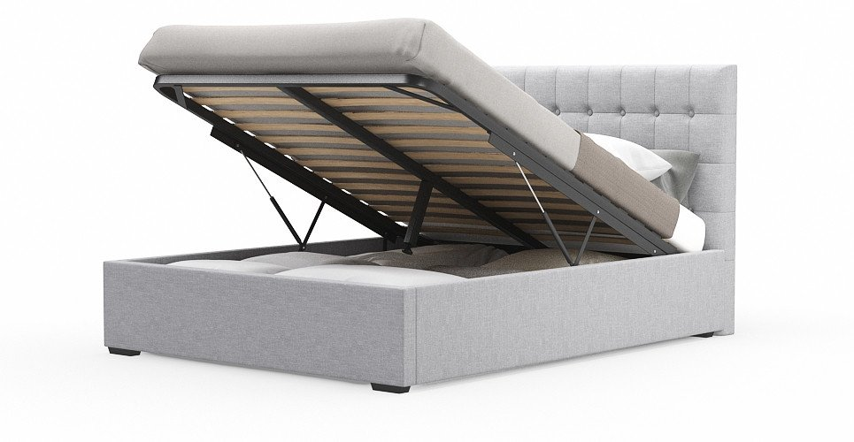 Bed is shown with storage underneath frame.