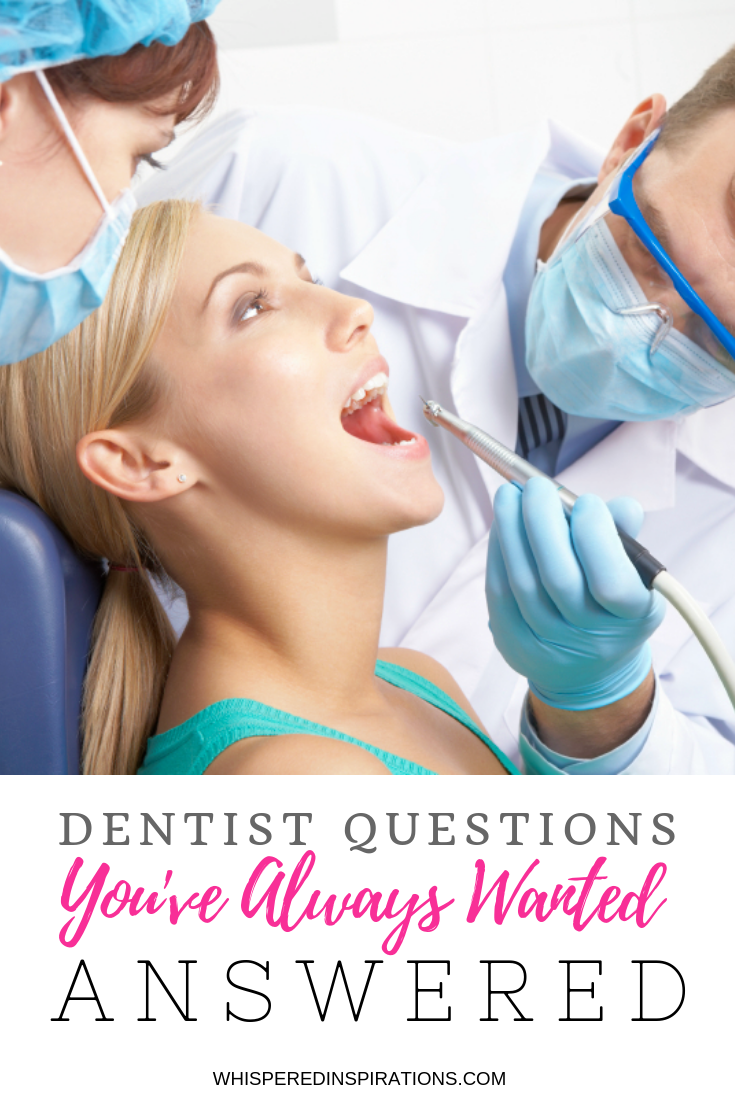 "A woman sits in the dentist chair and a dental assistant and dentist check on her mouth. Below is a banner that reads, ""Dentist questions you've always wanted answered."""