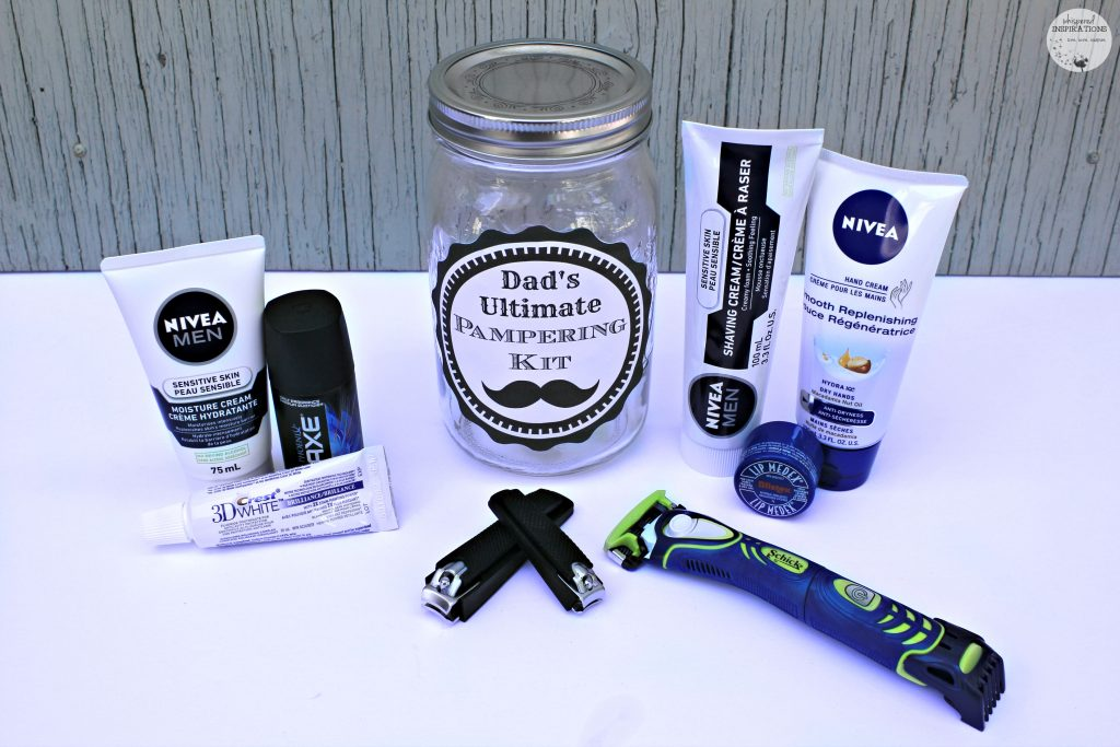 DIY Father's Day Gift Ideas: Dad's Ultimate Pampering Kit with everything he'll love.