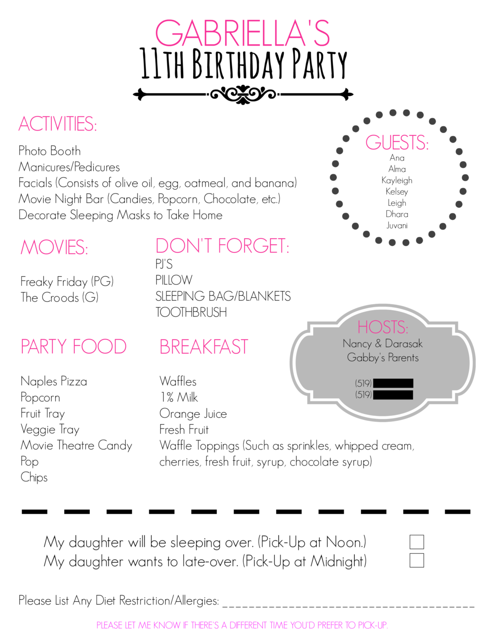 You Can See The Party Itinerary Here And Download A Blank One For Your Own Use HERE