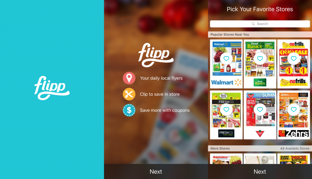 The flipp app showing flyers to popular stores.