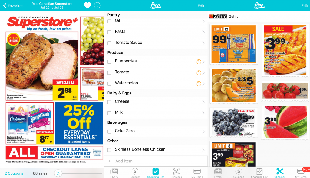 The flipp app showing flyers and checklists to popular stores.