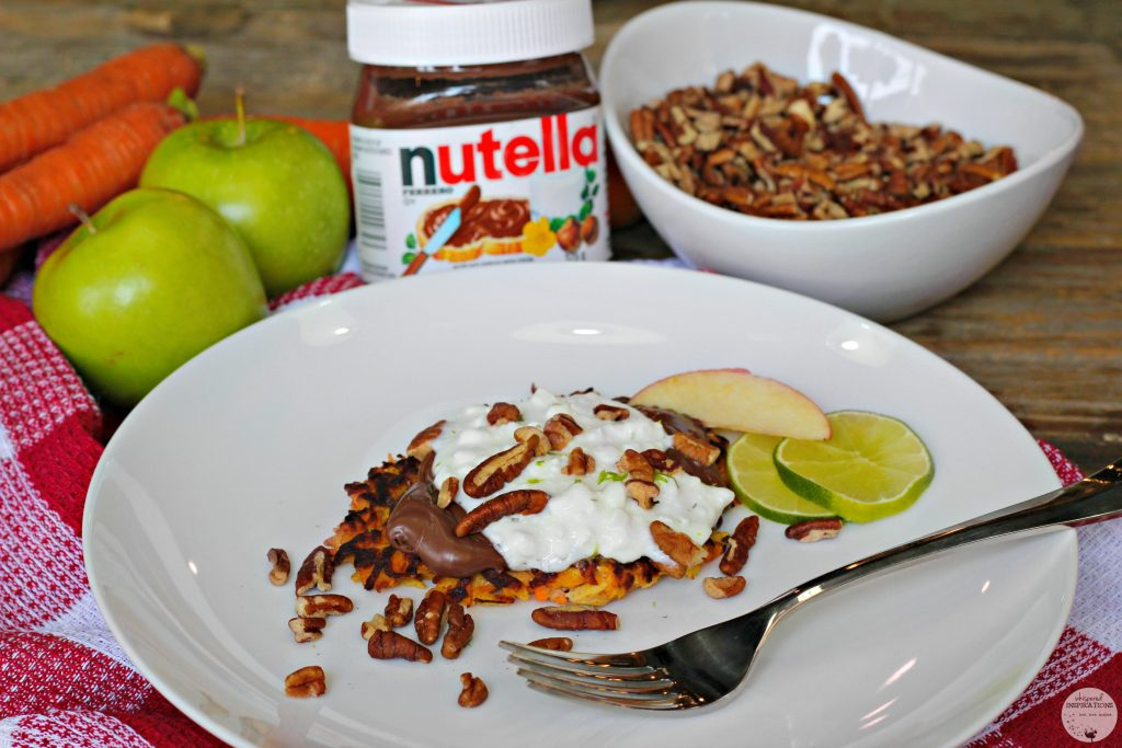 Carrot latkes topped with cottage cheese, pecans, lime and apples.