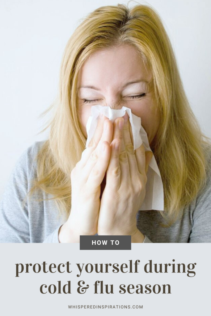"A woman sneezes into a tissue and a banner below reads, ""How to protect yourself during cold & flu season."""