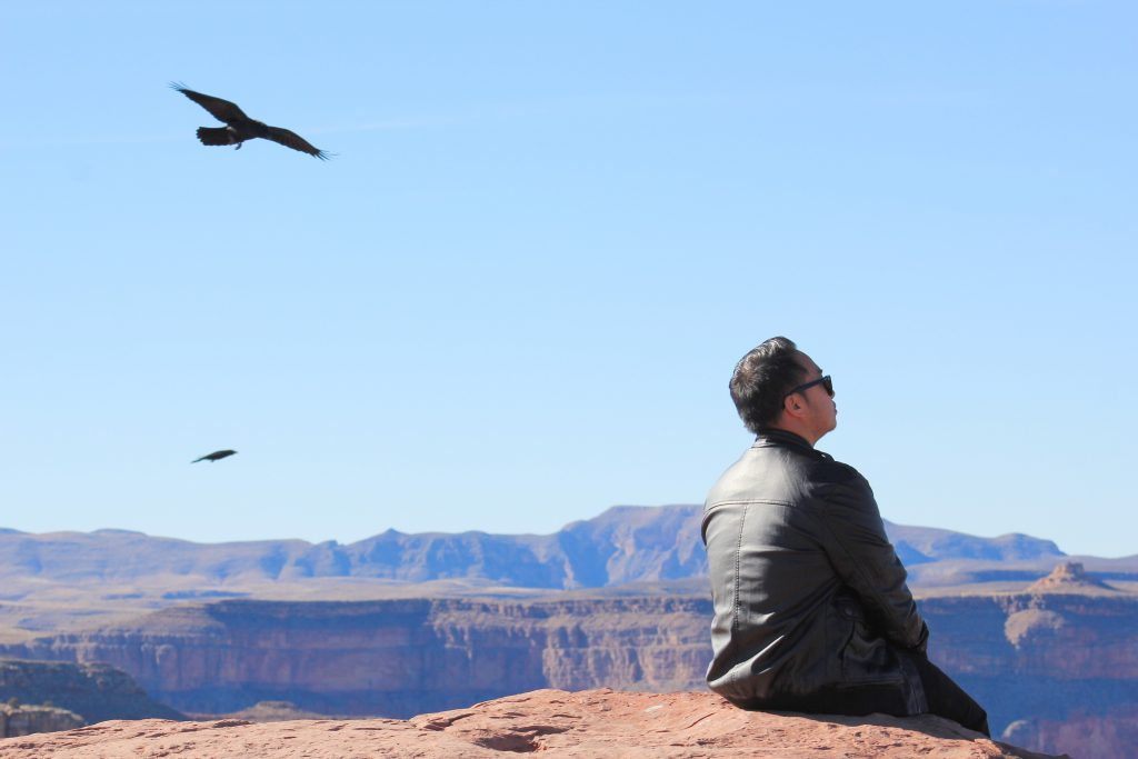 The Grand Canyon is to the distance. It's almost a bluish hue, two huge birds of prey fly in the sky above Darasak's head. He sits on the edge of the canyon and looks to the distance.