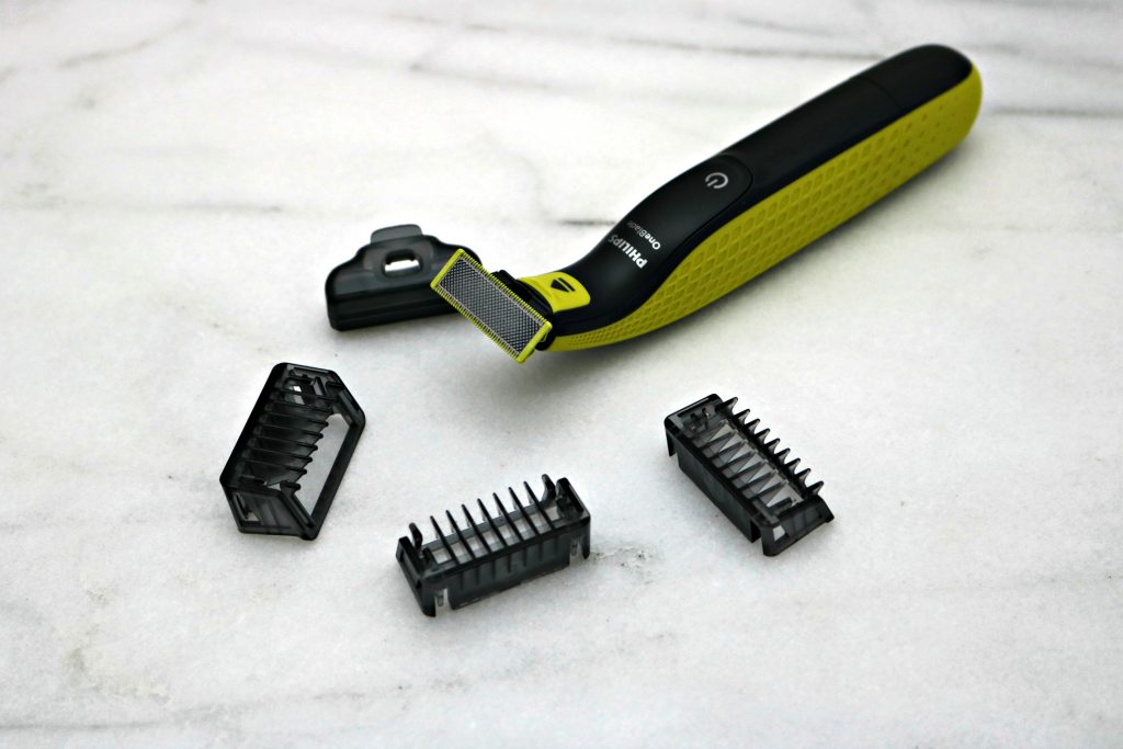 The Philips OneBlade with replacement blades and trimmers.