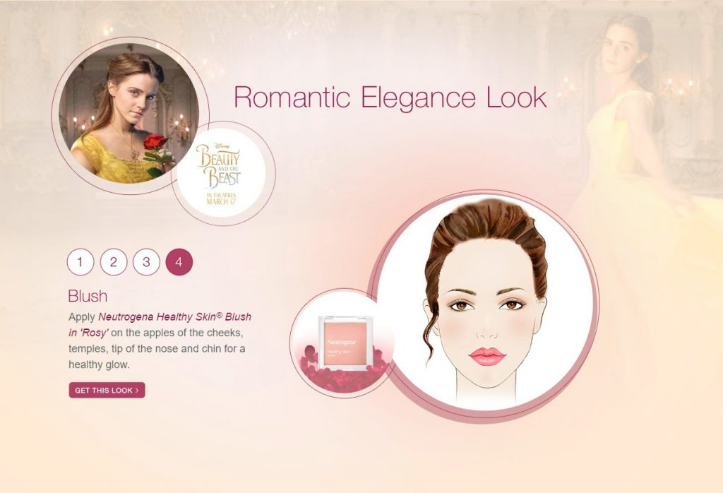 A graphic shows live-action Belle sporting a Romantic Elegance Look, it shows step by step instructions.