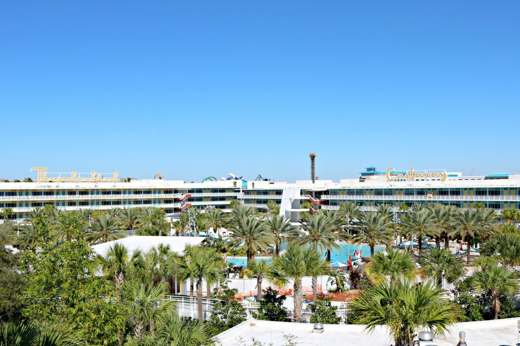 A landscape view of the Cabana Bay Beach Resort.
