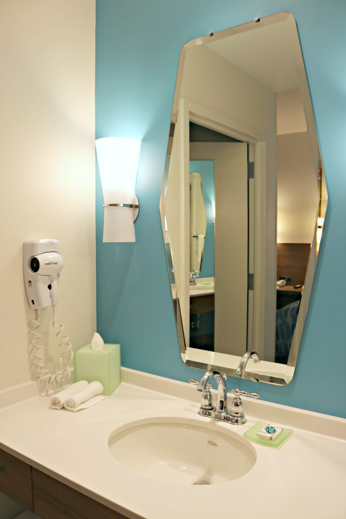 The bathroom vanity in the family suite at Cabana Bay Beach Resort.