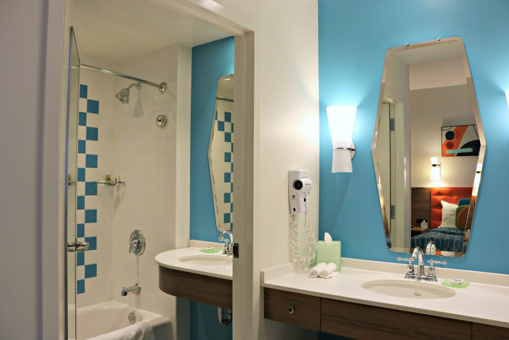 The bathroom is separate to the vanity in the family suite at Cabana Bay Beach Resort.